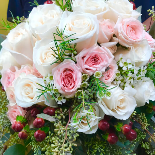 Close up of a wedding floral arrangement